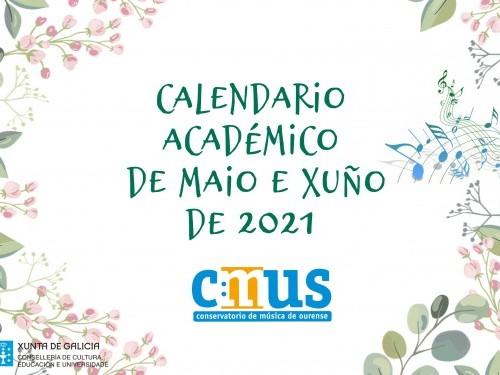 Calendario académico MAIO e XUÑO 2021