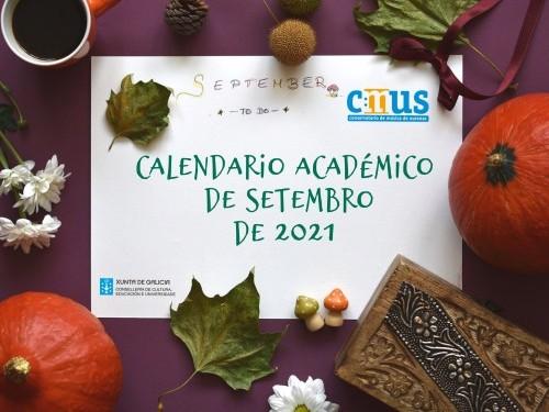 Calendarios do mes de setembro de 2021